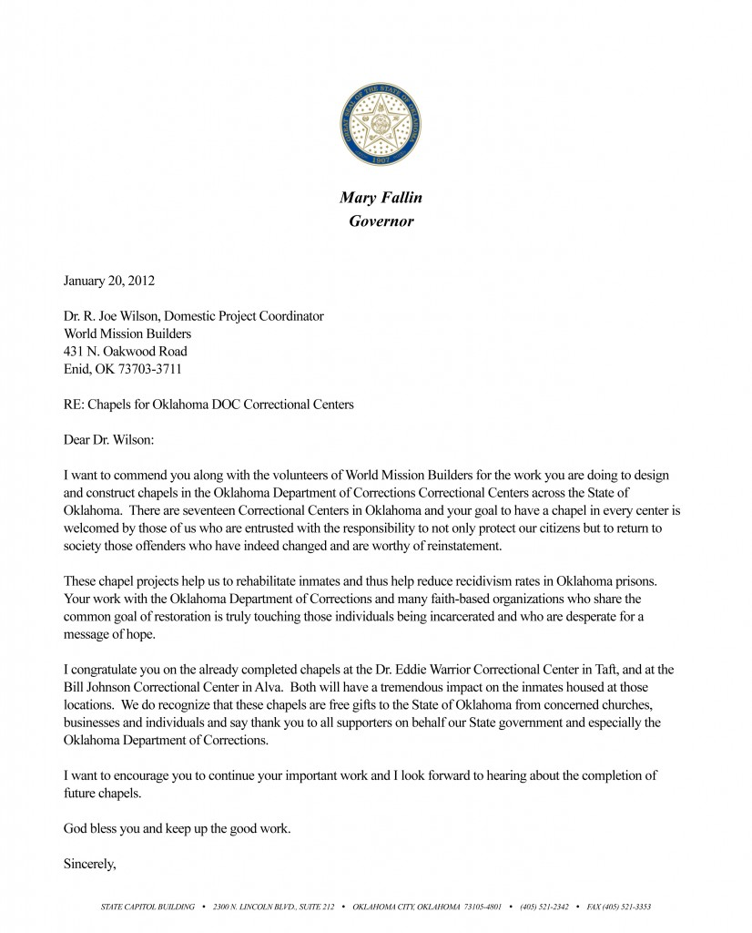 Gov Mary Fallin commendation letter